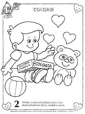Colorir Desenhos Sobre Direitos E Deveres Da Crianca Mundinho Da