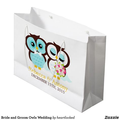 Bride And Groom Owls Wedding Large Gift Bag Zazzle