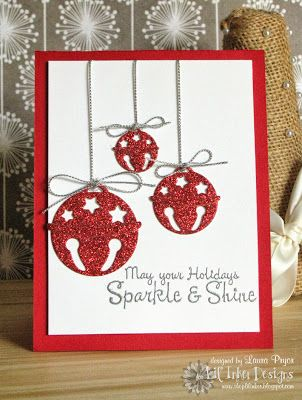 By Lil' Inker Designer Laura Pryor Uses Christmas Bits Die Set, Jingle Bell Die Set, Winter Greetings Stamps Stampin Up Christmas, Christmas Cards To Make, Christmas Bells, Christmas Greeting Cards, Christmas Greetings, Handmade Christmas, Holiday Cards, Christmas 2019, Christmas Canvas