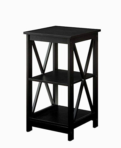 3 Tier Side Table In Black Finish For Storage Decor Home Office Furniture Shelves Coffee End Table Wooden Squa Convenience Concepts Black End Tables End Tables