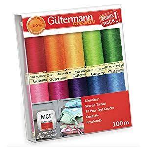 Gutermann Colorful Cotton 50 Mercerized Quilting Thread Set 10 x 100m Reels