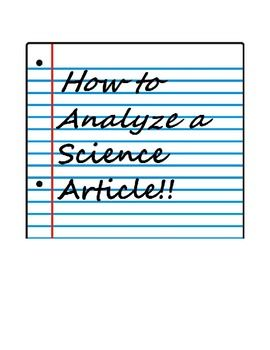 Analyzing a Science Journal Article