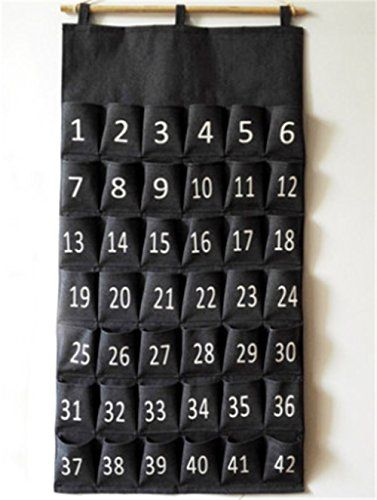 30 Pockets MISSLO Classroom Pocket Chart for Cell Phones Office Business Card Holder