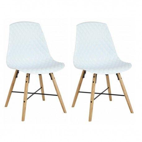2 Chaises Repas Blanches Viga Pieds Chene Naturel Et Metal Epoxy Chaise Chaise Design Chene