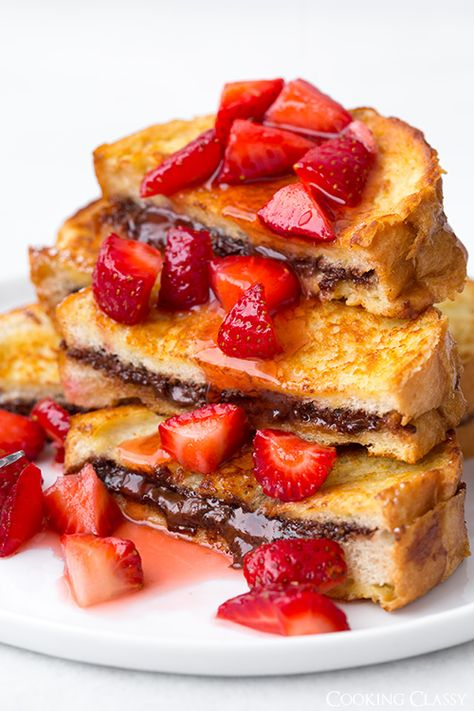 Nutella Stuffed French Toast with Macerated Strawberries | Cooking Classy @Jaclyn Bell {Cooking Classy}