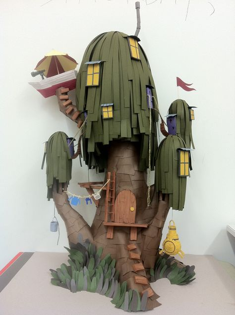 "Papercraft tree house by Lindsey Way, 2011 "" Who likes Adventure Time? Made this for a friend, it's tall "" Lindsey Way, Adventure Time Art, Paper Models, Paper Toys, Stop Motion, Cartoon Network, Cool Art, Art Projects, Crafty"