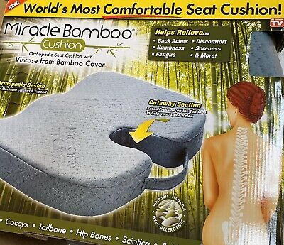 Gray Ontel Miracle Orthopedic Seat Cushion Viscose Bamboo Cover Fabric Imported 735541606205 Ebay Orthopedic Seat Cushion Cushions Memory Foam Cushion