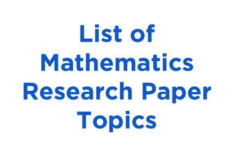 15 Interesting Mathematics Research Paper Topics And Ideas Research Paper Mathematics Metacognition