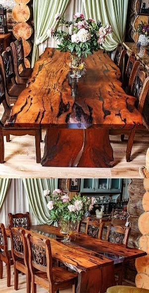 A Beautiful Dining Table For 6 Person Is Made Of Slabs Of Wood