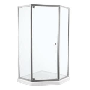 38 In X 70 In Framed Neo Angle Pivot Shower Door In Stainless