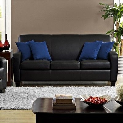 Dallas Faux Leather Sofa Black Dorel Living Faux Leather Sofa Black Leather Sofas Leather Sofa