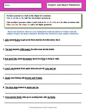 Worksheet Subject And Object Pronouns Replace Each Underlined Word Or Group Of Words With The Correct Subject O Object Pronouns Third Grade Grammar Pronoun Subject and object pronoun worksheets