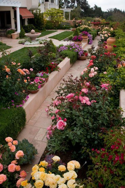 Landscape With Roses No Need For Boxlike Bushes Modern Roses Are Breathtakingly Beautiful Rose Garden Design Rose Garden Landscape Small Rose Garden Ideas