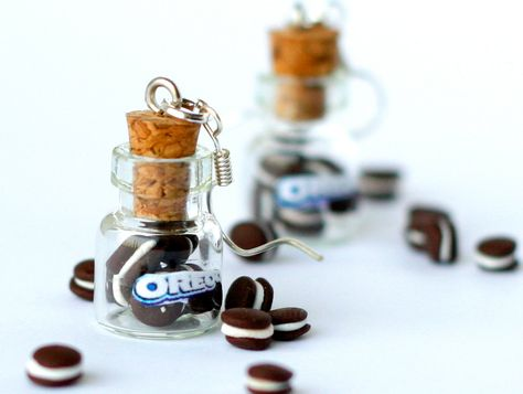 Miniature food - Oreo earrings miniature kawaii bottle Polymer clay jar miniature sweet dessert hoop from Zoozim.