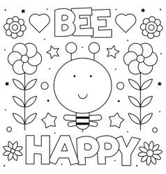 Bee Happy Coloring Page Bee Vector New Year Coloring Pages Mandala Coloring Pages Merry Christmas Coloring Pages
