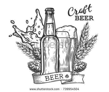 Wheat Beer Ads Beer Bottle And Glass With Beer And Ribbon Vintage Vector Engraving Illustration For Web Poster Invi Beer Drawing Beer Illustration Beer Art