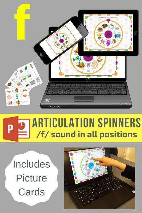 No Print F Sound Articulation Spinners for Digital Use on iPad or in Teletherapy