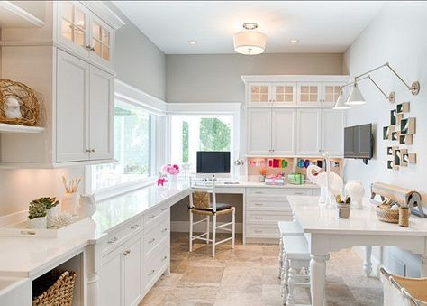 Elegant Family Home with Neutral Interiors - Craft Room. Designed by Studio M Interiors. This well-designed and fully-equipped craft room is per - Room Organization, Traditional Home Office, Office Crafts, Home Crafts, Traditional House, Craft Room Design, Home Decor, Dream Craft Room, Room Design