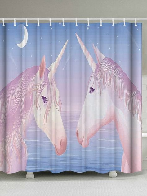 Bathroom Shower Curtain With Unicorn Print Architectural Home