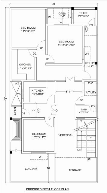 1800 Sq Ft House Plans Inspirational House Plan For 30 X 60 1800 Sq Ft Housewala 2bhk House Plan 20x40 House Plans 30x50 House Plans
