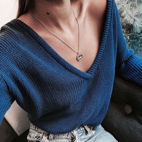 Solid Color Deep V Neck Sweater