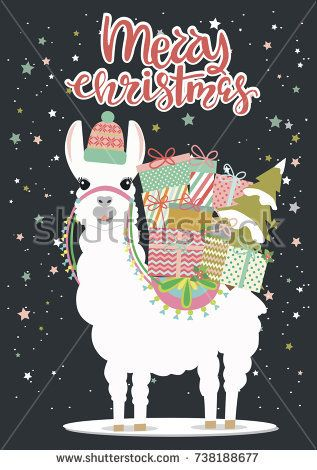 Merry Christmas Greeting Card With Fun Alpaca Editable Vector Illustration Gift Tag Cards Merry Christmas Card Greetings Xmas Gift Tags