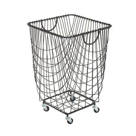 Decmode Large Rectangular Black Metal Mesh Laundry Basket With