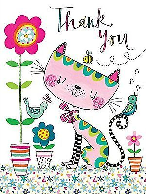 Rachel Ellen Pack of 5 Thank You Cards - Cat