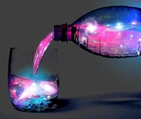 Aurora cocktail glows aquamarine under black light