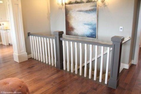 Grey and white hand rail, stairs
