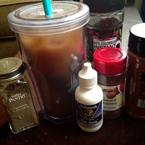 """@fitalicious_me's photo: """"Made a really yummy Iced Chai latte ...Made some strong instant coffee, poured it over ice, added stevia, cinnamon, cardamom, nutmeg, then added some home made oat milk DELISH!!!!!"""""""