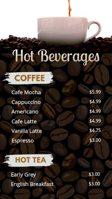 Coffee And Hot Drinks Price List Menu Design Template Menu Design Coffee Menu Design
