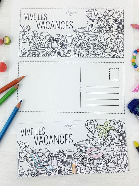 Carte Postale De Vacances A Colorier Cartes Postales De Vacances
