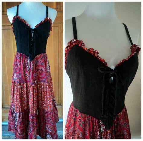 vintage 70s corset dress paisley skirt 1970s young