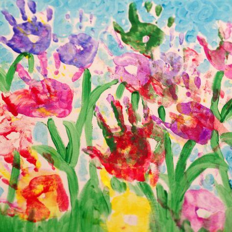 Handprint flowers on canvas