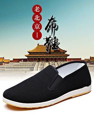 Hot Chinese Martial Art Kung Fu Ninja Shoes Slip On RUBBER Sole-Canvas Slippers