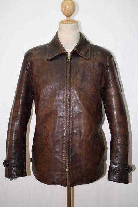 Vintage 1950s Brown Leather Motorcycle Sports Jacket MedLrg