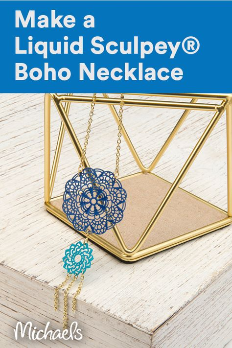 Create this beautiful mandala necklace to add some boho vibes to your jewelry collection.