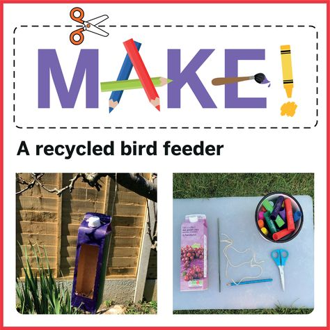 You will need - A drink carton, pair of scissors, pencil or pen, Solid paint sticks or acrylic paint, string or or wool, a garden stick or straight twig