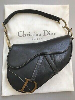 Christian Dior Saddle Bag Black Calfskin Leather Matte Gold Hardware Handbag Ebay Dior Saddle Bag Leather Saddle Bags Leather Handbags