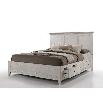 Casual Classic Rustic White 4 Piece Queen Bedroom Set St Mortiz