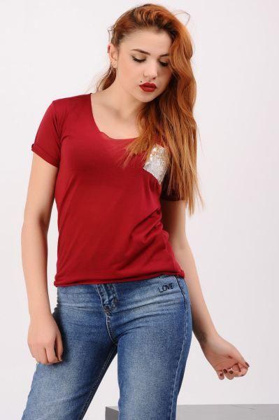 Bayan Tisort Pullu Cep Kirmizi T Shirt Giyim Modavigo Abiye Moda Kap Bayan Aksesuar Gunluk Butik Modern Elbise Deri Indirim Moda Kirmizi Tisort