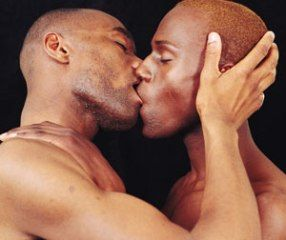 Black gay man kissing