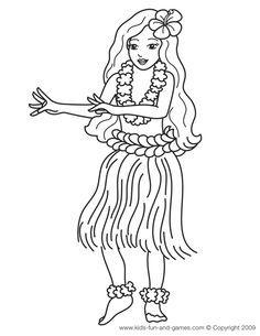 Hawaiian Hula Dancers Coloring Pages