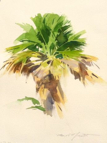 A watercolor painting of a palm tree by Mark Norseth