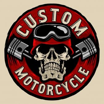 Download Vintage Monochrome Motorcyclist Skull For Free In 2021 Custom Logos Skull Retro Motorcycle Helmets