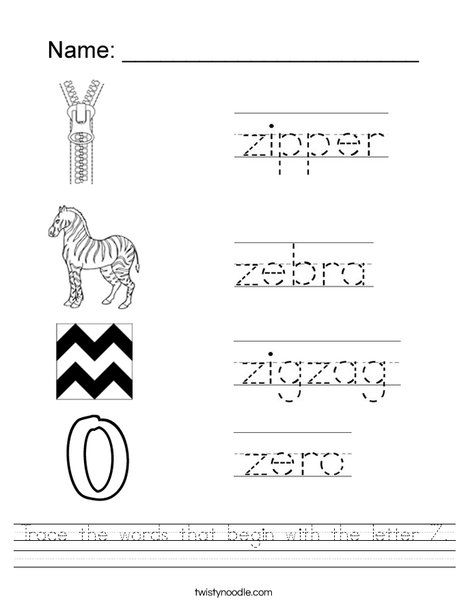Trace The Words That Begin With The Letter Z Worksheet Preschool Worksheets English Worksheets For Kids Letter Z