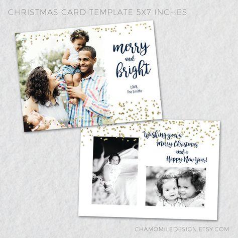 Christmas Card Templates For Photographers Photo Etsy Bruna Masalin Designs
