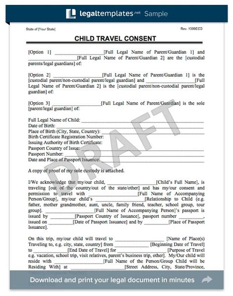 child travel consent form Florida trip Pinterest - medical consent forms
