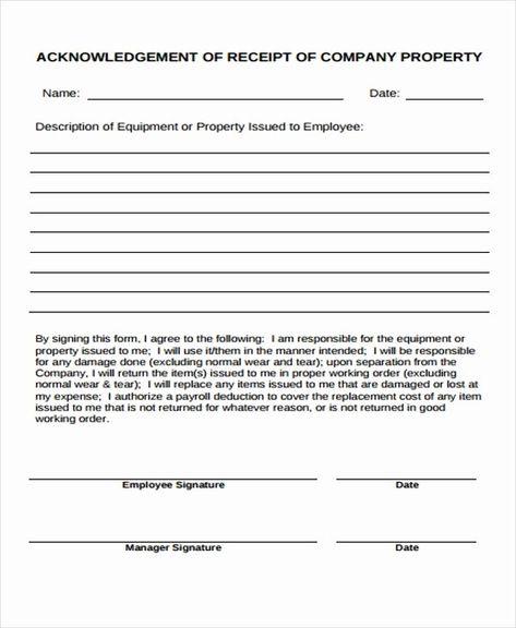 Employee Acknowledgement Form Template Unique 7 Pany Receipt